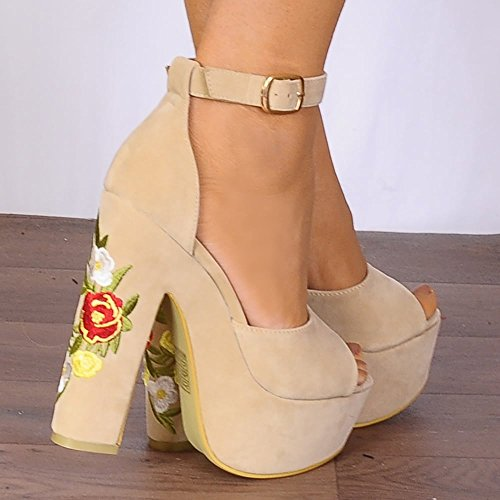Shoe Closet Nude Platform Wedges Nude Platforms Embroidered High Heels q3ahz