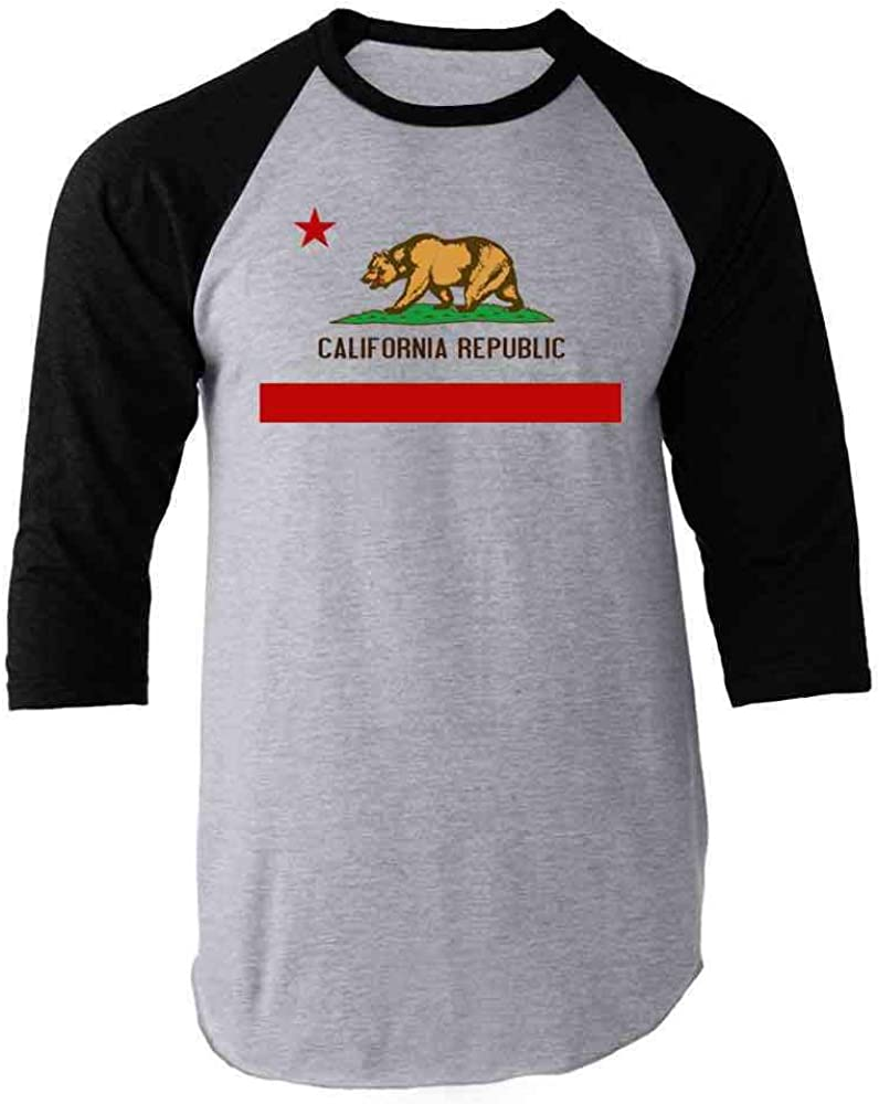Pop Threads California Republic Calexit Flag Black S Raglan Baseball Tee Shirt 512BpohuBlpL