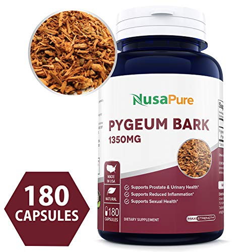 Pygeum Bark Extract 1350mg 180 caps (Non-GMO & Gluten Free) Supports Urinary & Prostate Health in Men - Reduces Inflammation - Made in USA - 100% Money Back Guarantee!