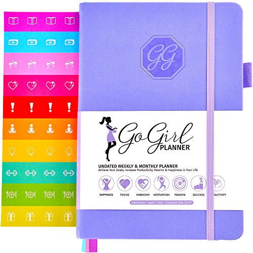 GoGirl Planner and Organizer for Women - Pocket Size Weekly Planner, Goals Journal & Agenda to Improve Time Management, Productivity & Live Happier. Undated - Start Anytime, Lasts 1 Year - Lavender