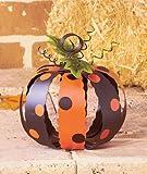 Small Metal Black and Orange Polka Dot Pumpkin