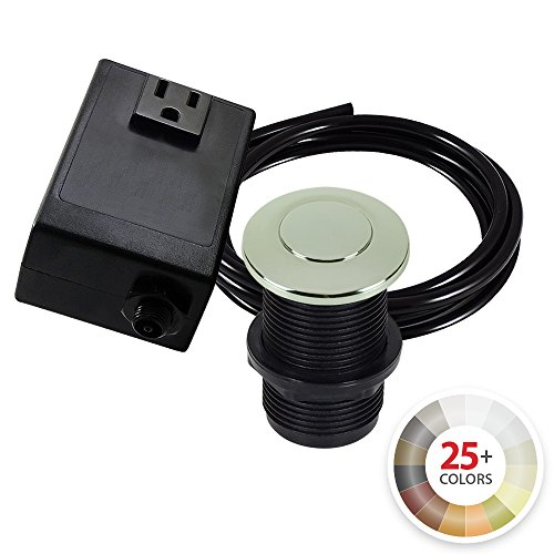 Polished Nickel Sinks - Single Outlet Garbage Disposal Turn On/Off Sink Top Air Switch Kit in Polished Nickel. Compatible with any Garbage Disposal Unit and Available in 25+ Finishes by NORTHSTAR DÉCOR. Model # AS010-PN