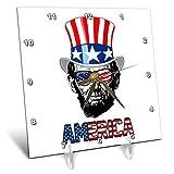 3dRose Carsten Reisinger - Illustrations - Abraham Lincoln Wearing a USA Flag top hat and Sunglasses America - 6x6 Desk Clock (dc_293414_1)