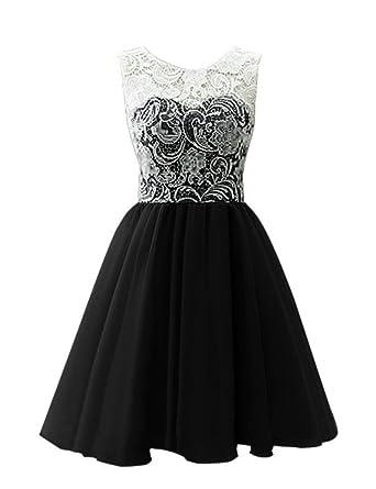 Bess Bridal Womens Short Lace Chiffon Prom Homecoming Dresses 2017 US2 Black