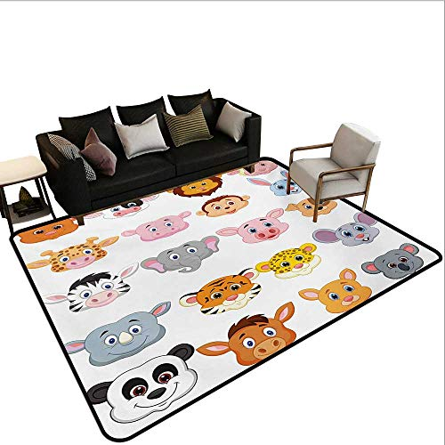 (Custom Pattern Floor mat,Kids Themed Baby Cute Animals Lions Pigs Cows Farm Safari Baby Nursery Room Image 6'x7',Can be Used for Floor Decoration)