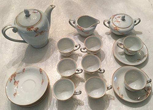 Pattern Demitasse - Fukagawa Arita Maple Leaf Pattern Tea Set Hand Painted Vintage 21 Piece