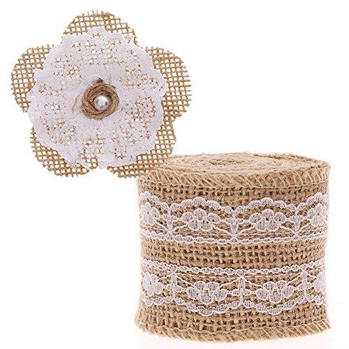 RUNMIND Lace Ribbon 2M Burlap Ribbon with DIY Flowers Party Wedding Xmas - Decor Diy Party