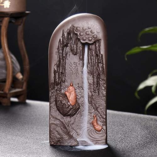 お香立て 仏サンダルウッドバーナー香のための紫色の粘土バーナーバーナー大逆流香は、セラミック装飾ホームデコレーションスティック LKYJP (Color : A1)