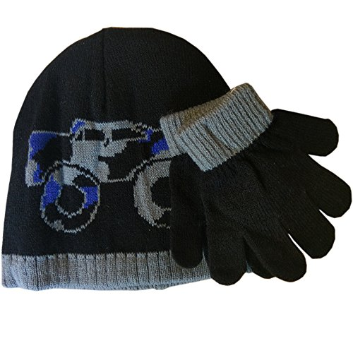 Toby Big Truck, Skull And Bones Reversible Boys Beanie Hats (2-4Y, (Black/Purple) Monster Truck with Gloves) (Monster Truck Winter Hat)