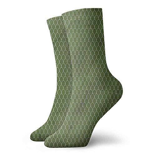 (Men's Socks Summer Green,Geometric Wave Like Shape 3.4