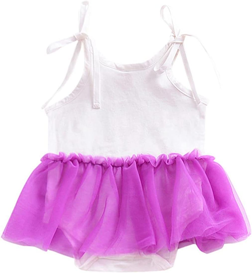 Kehen Newborn Infant Baby Girl Sleeveless Straps Romper Playsuit Gauze Tutu Dress Summer Pretty Clothes