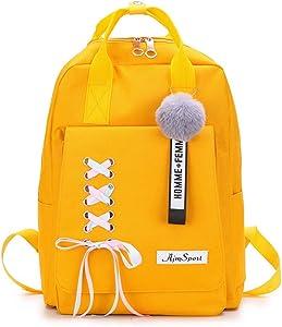 CANRAN School Backpack Teen Girls Bookbag for Laptop Book Bag Travel Rucksack Daypack for Men Women Boys Girls (Yellow)