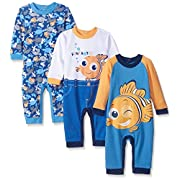 Disney Baby Finding Nemo Coveralls, Blue, 18 Months (Pack of 3)