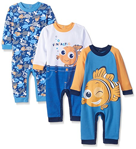 Disney Baby Finding Nemo Coveralls, Blue, 12 Months (Pack of 3) -