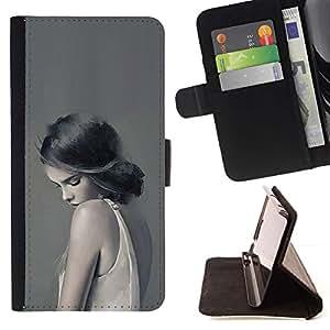 Momo Phone Case / Flip Funda de Cuero Case Cover - Mujer Señora triste Femenino Gris Profundo - Samsung Galaxy E5 E500