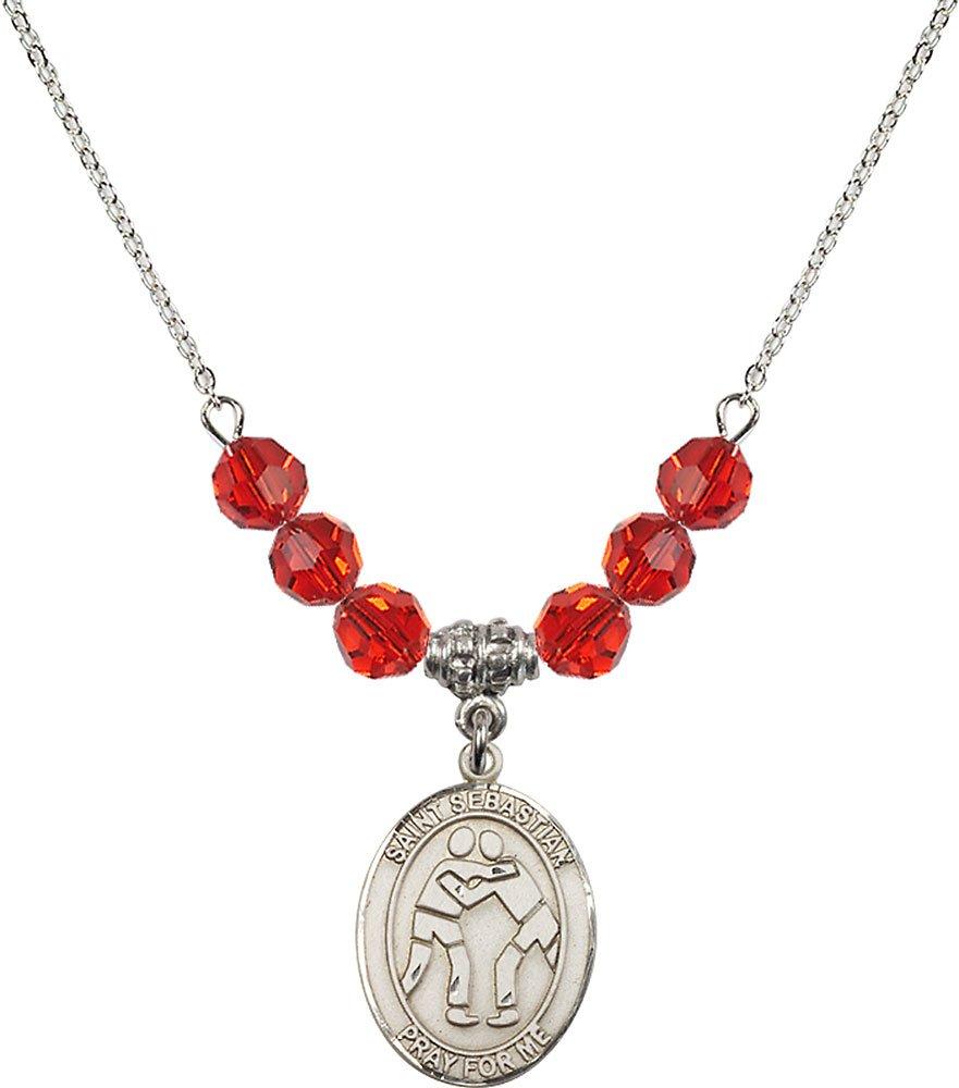 Rhodium Plated Necklace with 6mm Ruby Birthstone Beads & Saint Sebastian/Wrestling Charm.