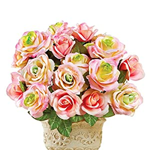 Artificial Pastel Rose Bush Floral Arrangement Planter Picks, Set of 3 - for Indoor Outdoor Use, Pink 104