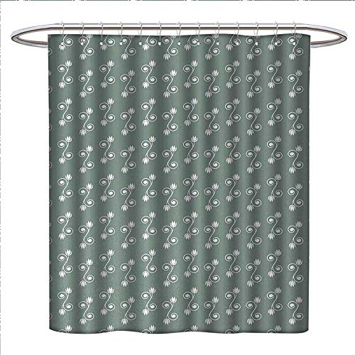 Anniutwo Vintage Floral Shower Curtain Customized Tulip Flowers on Curly Branches Spiral Concept Design Feminine Patterned Shower Curtain W54 x L78 Pale Sage Green ()