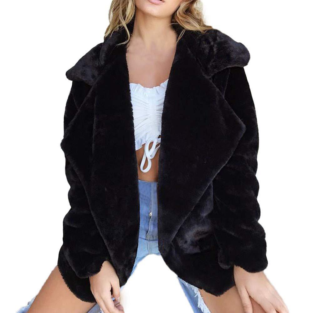 Shybuy Womens Faux Fur Coats Fashion Winter Coat Warm Outerwear Loose Lapel Collar Cardigan Jacket (Black, S)