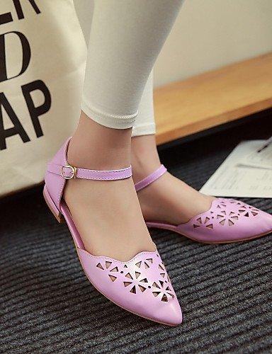 us6 rosa mujer PDX talón eu36 plano zapatos uk4 sintética casual Outdoor morado blanco cn36 piel Toe vestido Flats pink punta de de 66Uwtqg