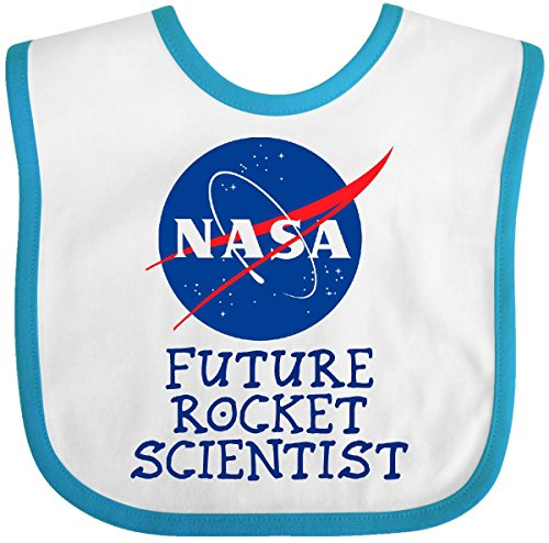 Inktastic - Nasa Future Rocket Scientist Baby Bib White/Turquoise - Nasa Bib