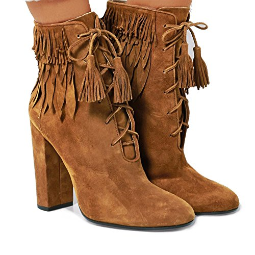 Zehe Party Quaste High Pumps Heels Tan Stiefel Stiefel Damen KJJDE Runde Blockabsatz 36 TLJ 071801 q8St7gga
