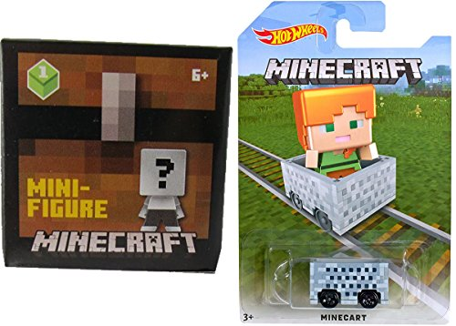 Hot Wheels MineCart Alex Exclusive with Minecraft Collectible Figure Mystery Blind Box Character Mini Figures Wood Series One (1)