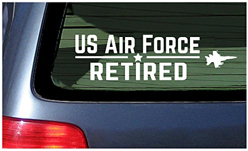 US Air Force Retired - White Vinyl Decal Sticker Window United States USAF USA Military Career