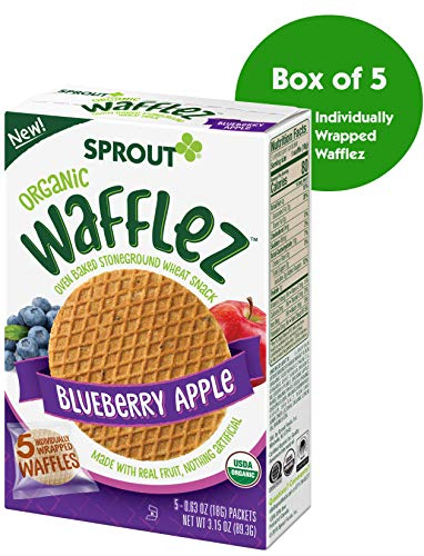 - Sprout Organic Wafflez Toddler Snacks, Blueberry Apple, 5 Count Box of Individually Wrapped Waffles