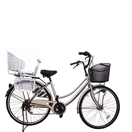 Lupinusルピナス 自転車 26インチ LP-266UA-KNR-S 格安SALEスタート 軽快車 シマノ外装6段ギア オートライト B073LGD4WD 卸直営 後子乗せシルバー シルバー