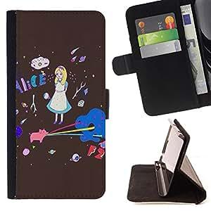 King Case - FOR Apple Iphone 6 PLUS 5.5 - Lovely girl - Prima caja de la PU billetera de cuero con ranuras para tarjetas, efectivo Compartimiento desmontable y correa para la mu?eca