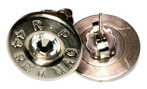 .44 Rem Mag Palladium Plated Ear Studs with Swarovski Crystals- Clear (R-P)