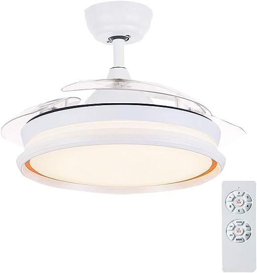 YX Ceiling Fans Lámpara de techo LED regulable con luz de ventilador de techo con aspas invisibles retráctiles y control remoto Motor silencioso para sala de estar Dormitorio Restaurante, 42 pulgada: Amazon.es: