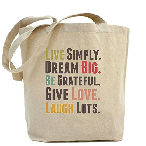 LVSURE live simply dream big be grateful give love laugh lots Tote Bag - Standard Multi-color Personalised Fabric Printed Tote Bag custom bag