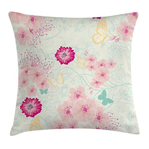 Ambesonne Floral Throw Pillow Cushion Cover, Spring Flower Essence Beauty Fragrance Butterflies Image, Decorative Square Accent Pillow Case, 18 X 18 Inches, Magenta Light Pink Turquoise Yellow