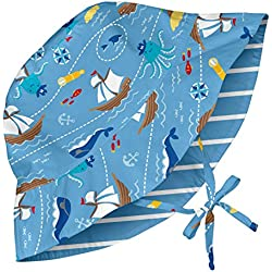 Pirate Ship, Baby Reversible Bucket Sun Protection Hat, Light Blue 0-6 Months