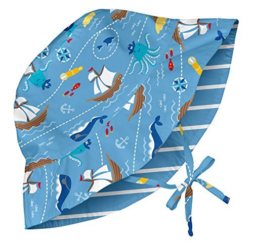 i play. Baby Reversible Bucket Sun Protection Hat, Light Blue Pirate Ship, 0-6 Months