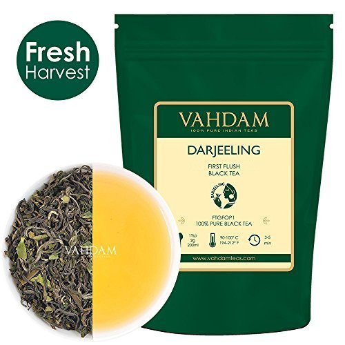 VAHDAM, First Flush Darjeeling Tea -50 Cups/ 3.53oz Loose Leaf Black Tea - Flowery, Aromatic & Delicious, Picked, Packed & Shipped Direct from India, Champagne of Teas, Mellow & ()