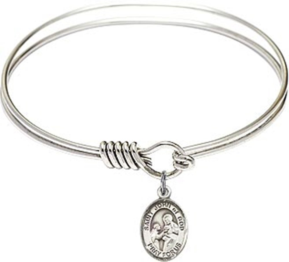 Rhodium Plate Round Eye Hook Twist Bangle Bracelet with Saint John of God Petite Charm, 6 1/4 Inch