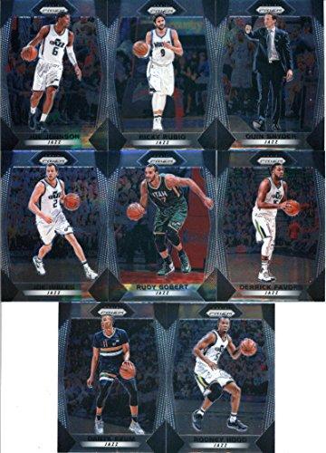 - 2017-18 Panini Prizm Basketball Complete Utah Jazz Team Set of 10 Cards which includes: Rodney Hood(#111), Dante Exum(#112), Joe Ingles(#113), Rudy Gobert(#114), Derrick Favors(#115), Joe Johnson(#116), Donovan Mitchell(#117), Tony Bradley(#118), Ricky Rubio(#119), Quin Snyder(#120)