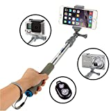 VertiGo Selfie Stick Portable Self-portrait Extendable Monopod with Bluetooth Remote Shutter for iPhone 7, 6s, 6, 5s, Android/Galaxy and All Other Smartphones - Platinum