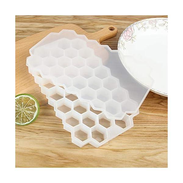Vaschette per cubetti di ghiaccio con coperchio, 37 cubetti di ghiaccio con coperchio rimovibile, in gel flessibile e… 7 spesavip