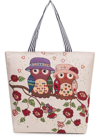 (Heavy Duty Cotton Canvas Tote Bag (Zippered)Double Owl (18