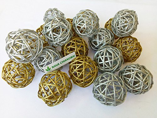 NAVA CHIANGMAI 20 Pcs. Decorative Balls Rattan Balls Vase Filler Twig Ball Christmas Tree Ornament Wedding Birthday Party Decoration Decorative DIY Crafts,Animals Toys. (Gold & (Gold Twig Tree)