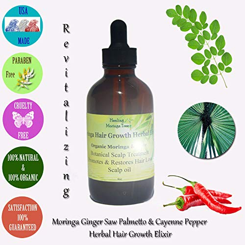 4oz Moringa Scalp & Hair Growth Elixir (MORINGA GINGER + SAW PALMETTO & CAYENNE PEPPER) Treats Thinning Hair and Promotes Fast Healthy Hair Growth.