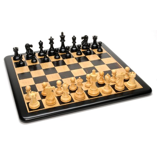 WE Games Grand Jacques Ebony Chess Set - Triple Weighted Pieces with Leather Bottoms & Ebony Wood Board 19 (Grande Executive Leather)