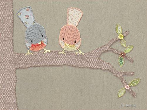 Birdie Canvas - Oopsy Daisy Fine Art for Kids Vintage Sign Birdies Canvas Wall Art by Kristen White, 18 x 14