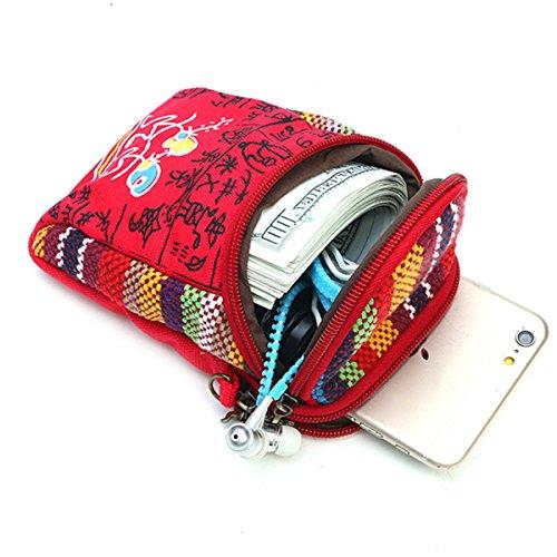 Multifonctionnel Bandoulière Femmes Toile Red Vintage En De 8 Pouces Joseko Téléphone Sac À Toile 5 Uq5FOO