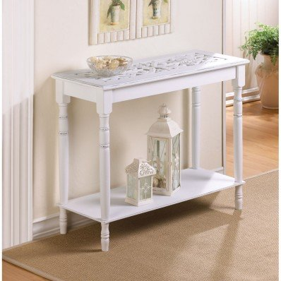 - Carved Top Distressed WHITE Chic Shabby Wood Sofa console Entry Hall Table shelf