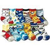 Non Slip Walker Baby Socks Anti Skid Slip Cotton Socks for 12-36 Months Kids 6 Pairs